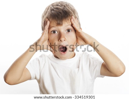 young pretty boy wondering face isolated gesture close up on white - stock photo