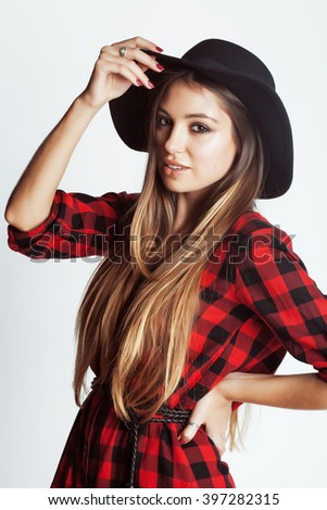 young pretty brunette girl hipster in hat on white background casual close up dreaming smiling. real american woman - stock photo