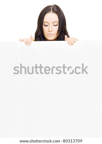 Young Pretty Business Lady Presenting A Massive Empty Shopping List Or To Do List With Text Copy Space In A Stock Inventory Ad, Isolated On White Background - stock photo