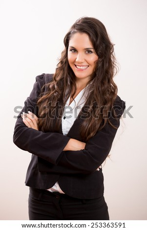 Young pretty business woman - stock photo