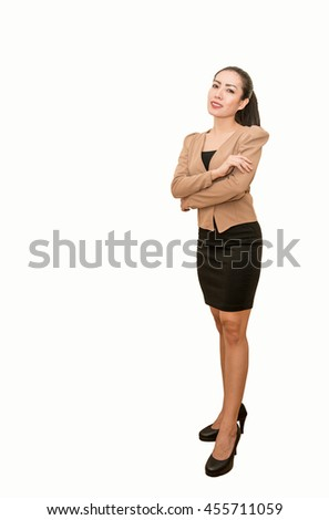 Young pretty business woman having arms folded isolated on white background.