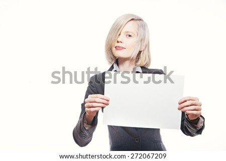 young pretty businesswoman hold a white sheet of paper and smile - stock photo
