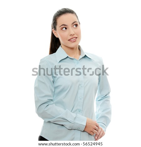 Young pretty businesswoman in white background - stock photo