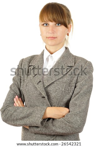 young pretty businesswoman. isolated on white - stock photo