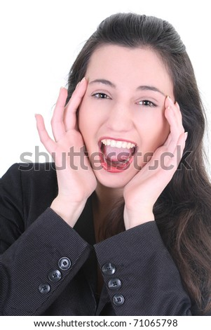 Young pretty businesswoman very happy over white - stock photo