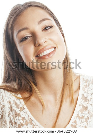 young pretty caucasian woman spa isolated on white close up smiling charming adorable with teeth happy - stock photo