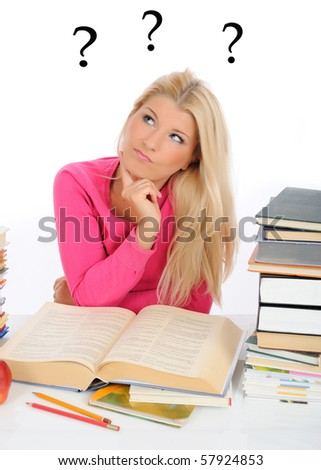 young pretty confused student girl with lots of books thinking. question marks on the background - stock photo