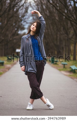 Young pretty girl enjoy spring park. Relax picture