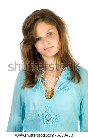 Young pretty girl. Isolate on white. - stock photo