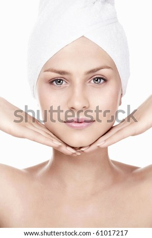 Young pretty girl on a white background - stock photo
