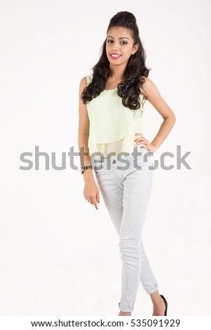 Young pretty girl on white background