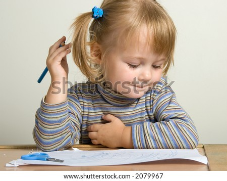 young pretty girl teach draw with blue pen - stock photo