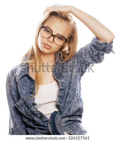 young pretty girl teenager in glasses on white isolated blond hair close up modern hipster - stock photo