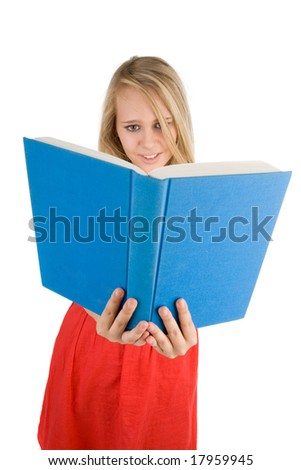 Young pretty girl with books  on the white