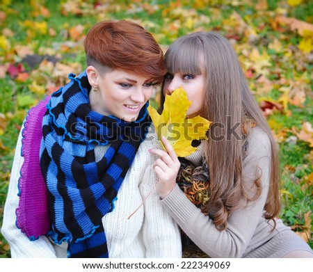 Young pretty girls whisper at the autumn park - stock photo