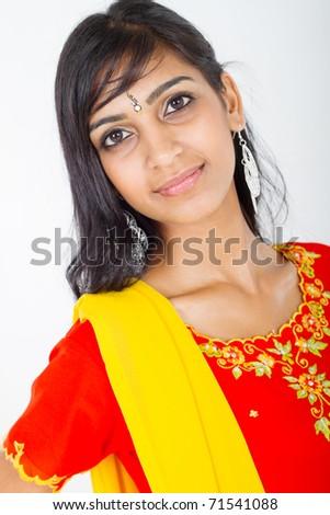 young pretty Indian woman closeup portrait in studio - stock photo