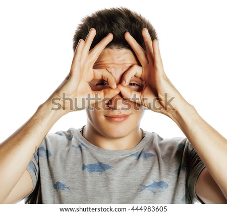 young pretty man isolated showing two ok signs smiling close up - stock photo