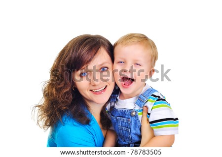 Young pretty mom with her son - stock photo