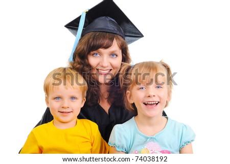 Young pretty mother is graduating with children - stock photo