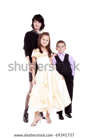 young pretty mother with her little daughter and son