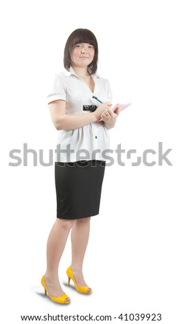 Young pretty office woker over white background
