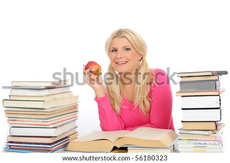 young pretty smart woman with lots of books reading and study. isolated on white background - stock photo