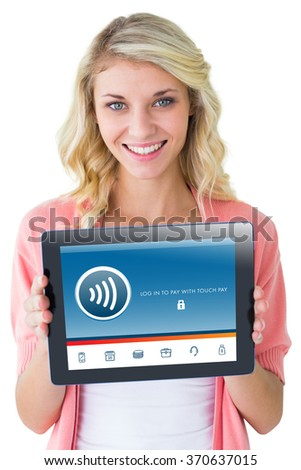Young pretty student showing tablet pc against web - stock photo