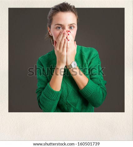 young pretty surprised woman - stock photo