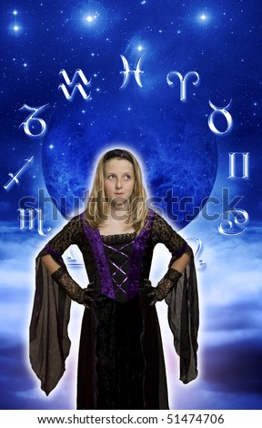 young pretty witch in front of astrological symbols and moon - stock photo
