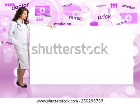 Young pretty woman doctor with white blank banner - stock photo