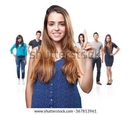 young pretty woman doing number one gesture - stock photo