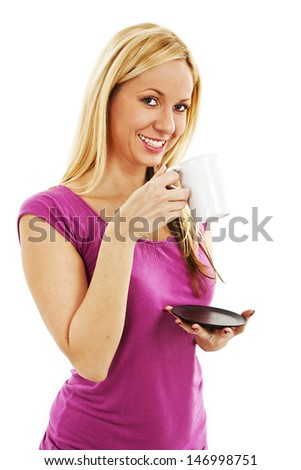 Young pretty woman drinking coffee. Isolated on white background - stock photo