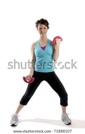 Young pretty woman exercises isolated on white background.