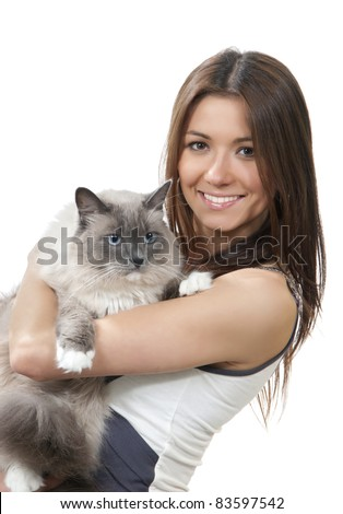 Young pretty woman hold her lovely Ragdoll cat with blue eye isolated on a white background - stock photo