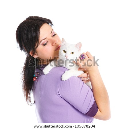Young pretty woman hold her lovely white cat. Isolated on a white background