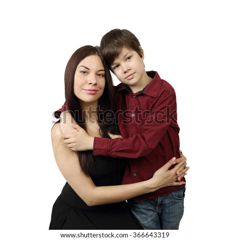 Young pretty woman hugging teenage boy portrait isolated on white background in square - stock photo