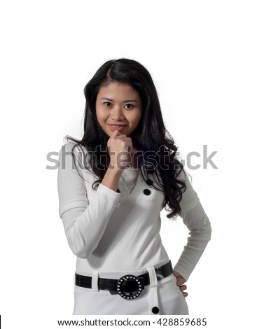 young pretty woman in business attire, isolated background