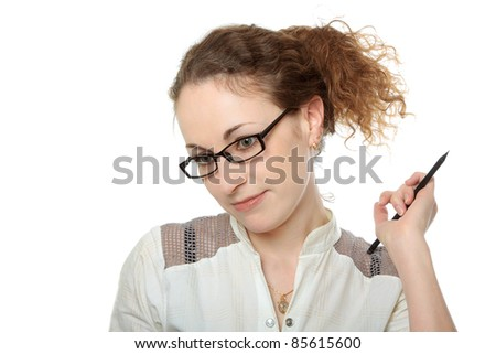young pretty woman in glasses with pencil making a decision