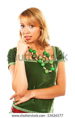 young pretty woman in green dress