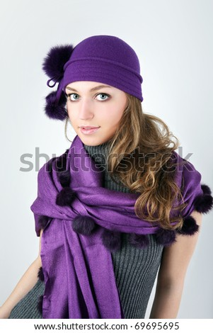 Young pretty woman in winter style. - stock photo