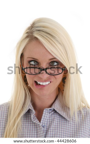 Young Pretty Woman Making a Silly Face - stock photo