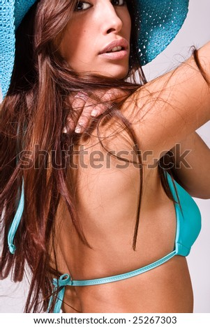 young pretty woman ready for beach - stock photo