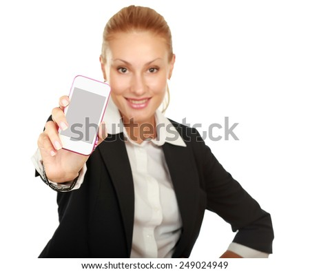 Young pretty woman showing display of her new touch mobile cell phone - stock photo