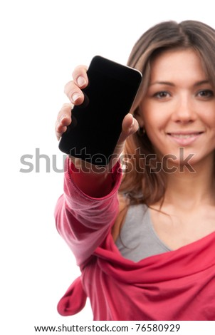 Young Pretty Woman Showing display of her new touch mobile cell phone. Focus on the hand and cellphone. - stock photo