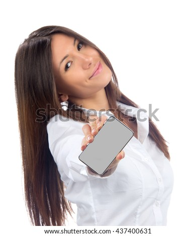 Young Pretty Woman Showing display of her new touch mobile cell phone on a white background. Focus on the hand and phone - stock photo