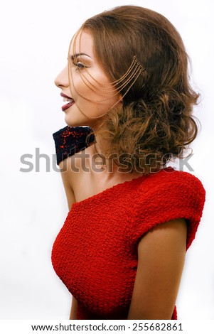 young pretty woman with chain and make like gussar role isolated oin white - stock photo