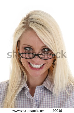 Young Pretty Woman with Crossed Eyes Smiling Acting Silly - stock photo