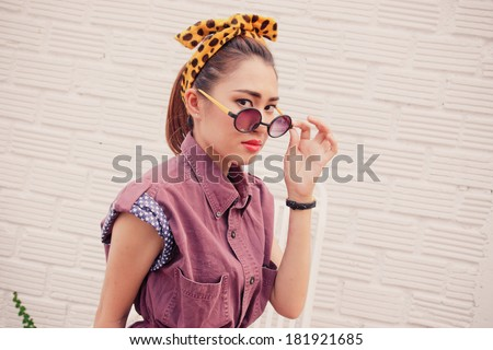 young pretty women in vintage retro clothe theme style