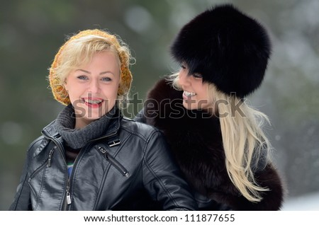 young pretty women outdoor in winter