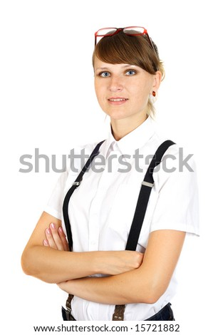 young pretty working woman, isolated on white - stock photo